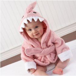 Sortie de bain peignoir REQUIN rose saumon pour bébé