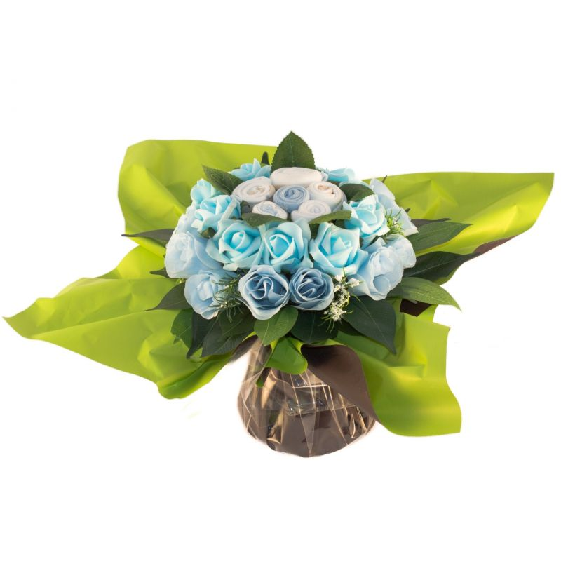 cadeau naissance Bouquet de layettes bleu