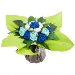 Bouquet de chaussettes : Duo maman bébé bleu