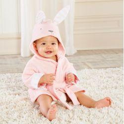 Sortie de bain LAPIN ROSE pour bébé