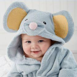 Sortie de bain SOURIS gris bleuté pour bébé