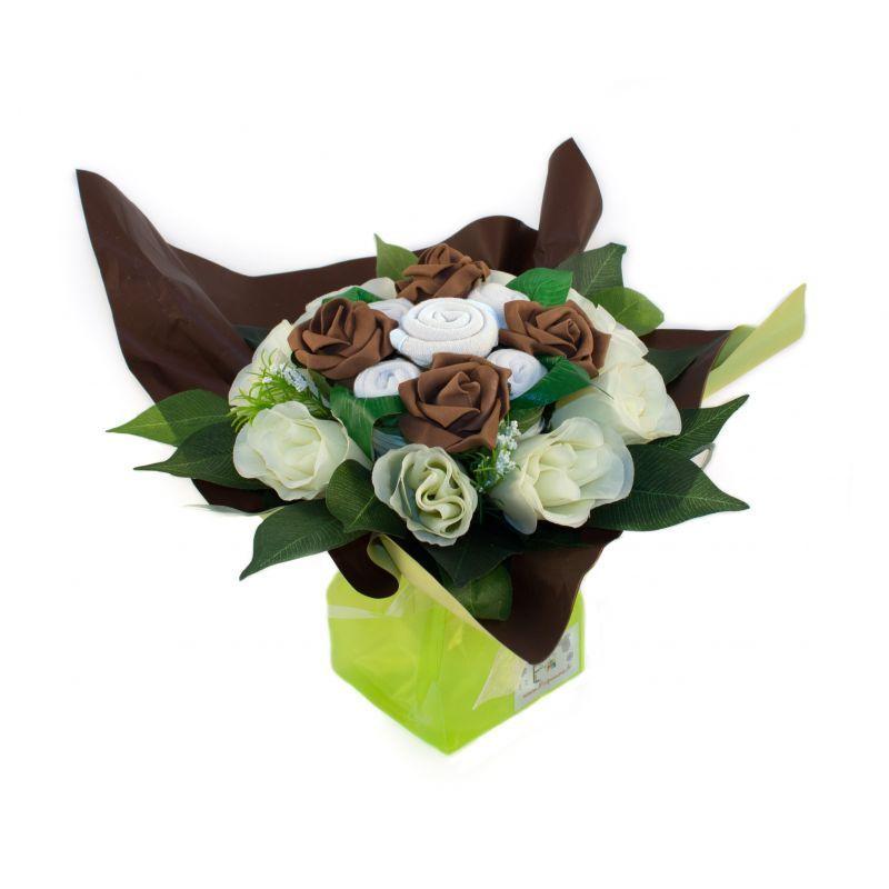 Bouquet de naissance original pour maman et bébé : Mélodie chocolat