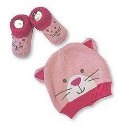 Bonnet et chaussons bébé : Chat