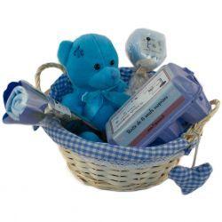 Panier cadeaux de naissance en osier : Garçon