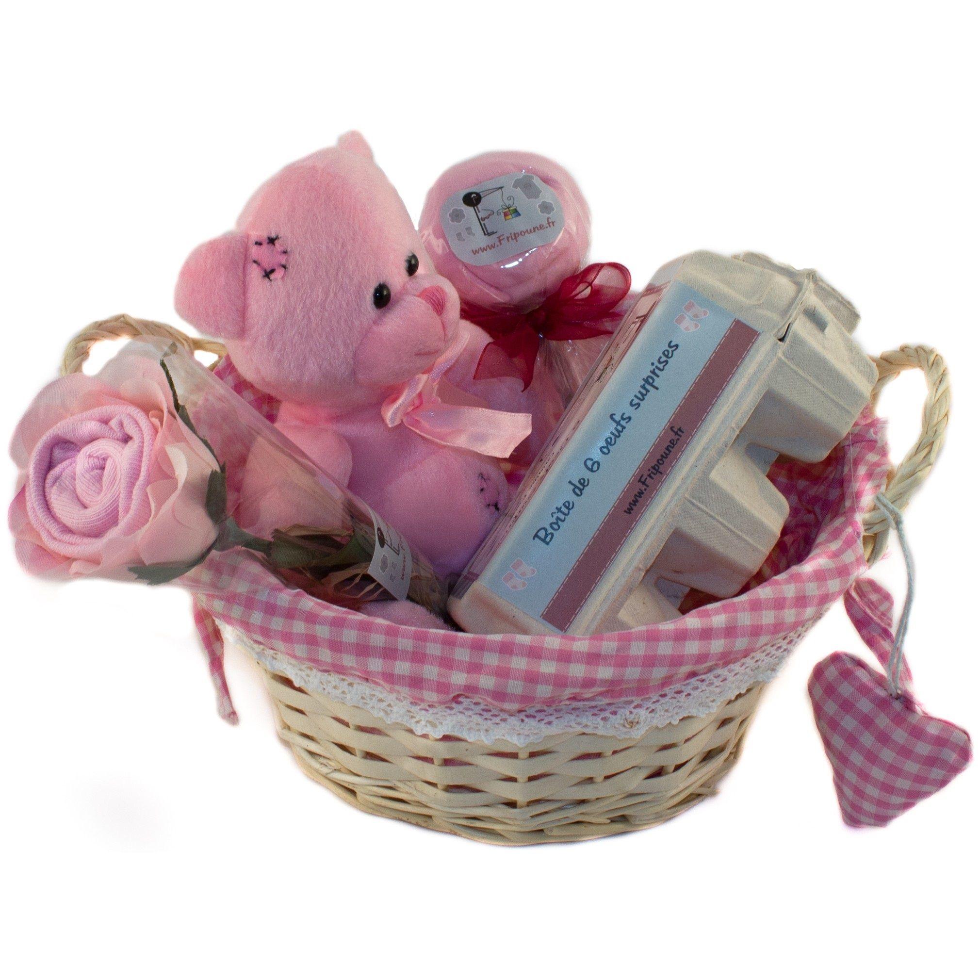 V/êtements Et Cadeaux B/éb/é Bo/îtes Cadeau De Naissance Nouveau-N/ée Bo/îte /À Souvenirs Rose Avec Peluche