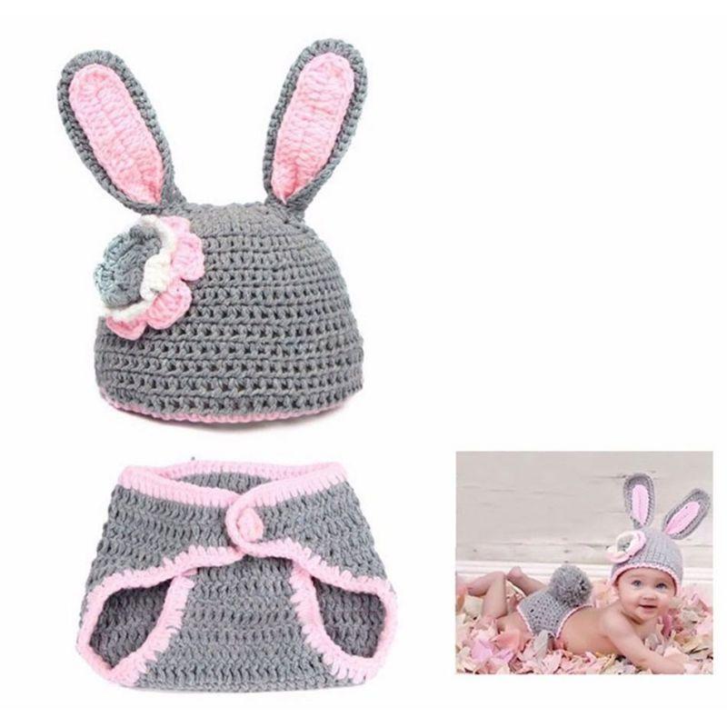 déguisement bébé Tenue en crochet : Lapin Gris