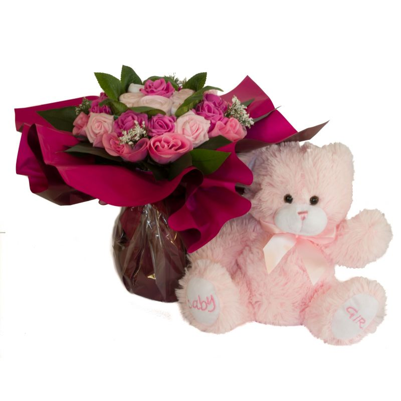 Bouquet de 8 layettes et son ourson Rose
