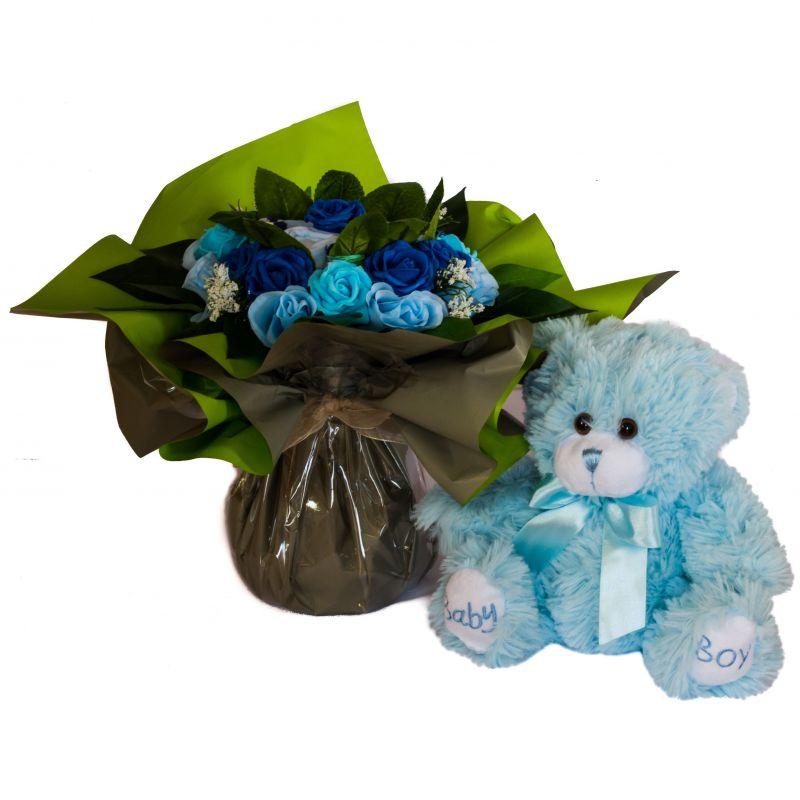 bouquet naissance original de layette pour garçon et ourson bébé