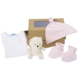 Coffret naissance bio : petit Ours rose