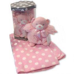Boite cadeau bébé : couverture et doudou rose