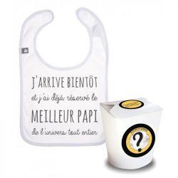 Pochette surprise : bavoir naissance Meilleur Papi