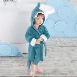 Peignoir personnalisé enfant : Requin bleu pour enfant de 1 à 3 ans