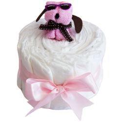 Gâteau de couches bébé : chiot Rose
