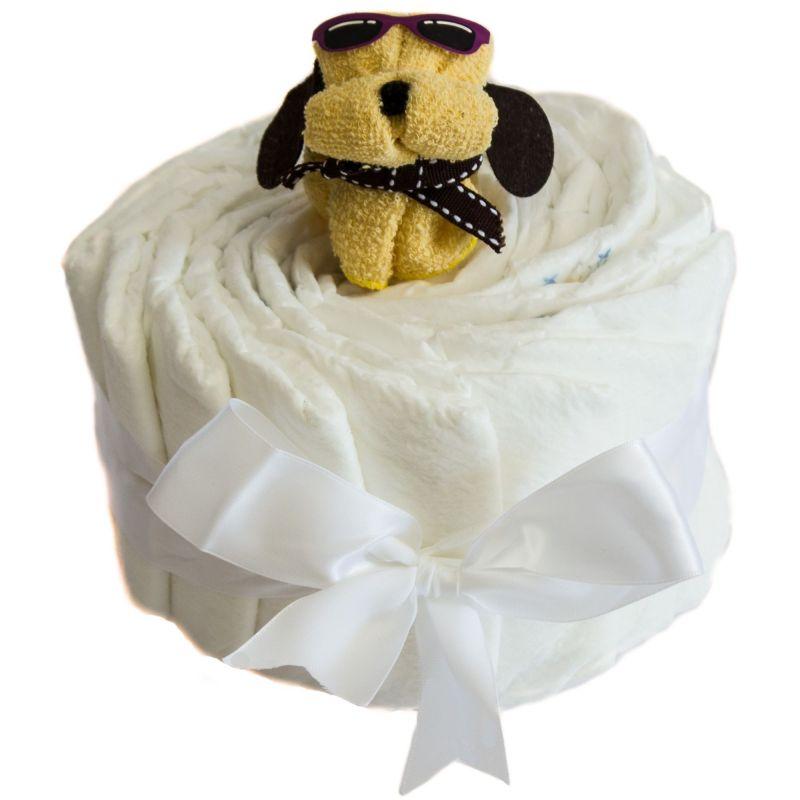 Gâteau de couches baby-shower : chiot Jaune