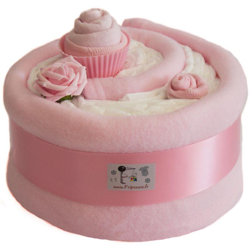 Gâteau de couches babyshower :  Bébé Fille