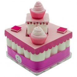 Gâteau de couches : Rose pour cadeau de naissance ou babyshower