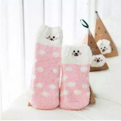 Boite chaussettes enfant : chien rose