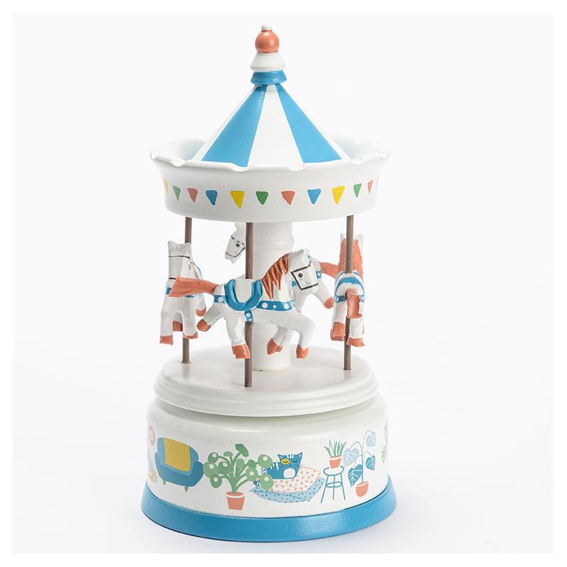 Boîte à musique : Carrousel musical Fanions bleu