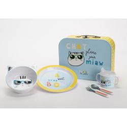 Valisette coffret repas bébé : Chat plane pour miaw