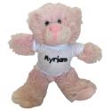Peluche personnalisée : ours rose avec t-shirt prénom