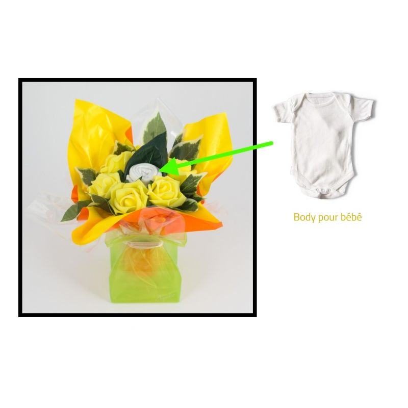 bouquet body naissance original jaune