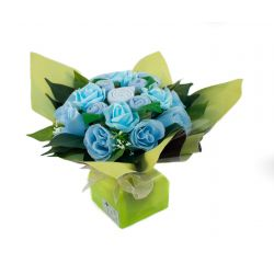 Bouquet de naissance priginal pour maman et bébé : Mélodie bleu