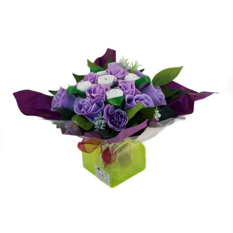 Bouquet de naissance original pour maman et bébé : Mélodie violet