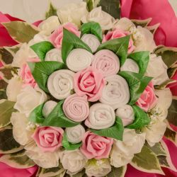 Bouquet de 12 layettes : Farandole Rose