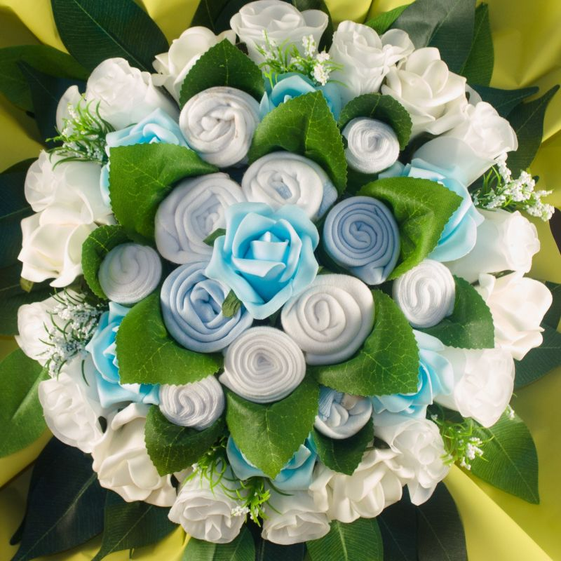 Bouquet de naissance b b gar on bouquet de layette bleu for Bouquet naissance