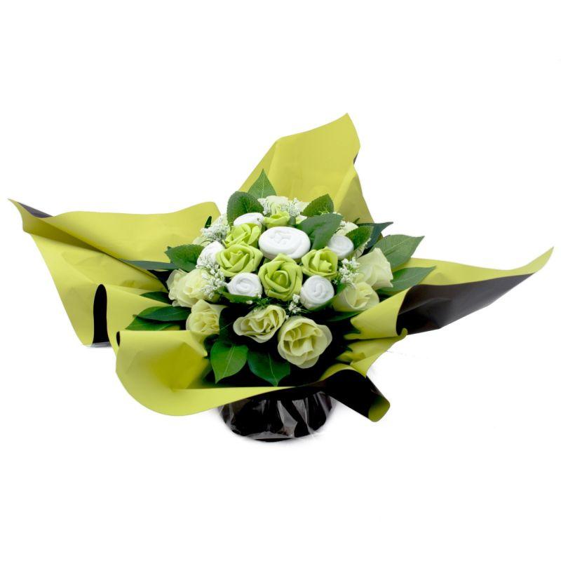 Bouquet de layette naissance original harmonie vert