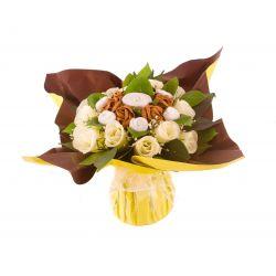 Bouquet de 7 layettes body et chaussettes bébé chocolat